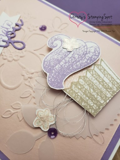 Lovely Floral Hello Cupcake Facebook Live card close up.