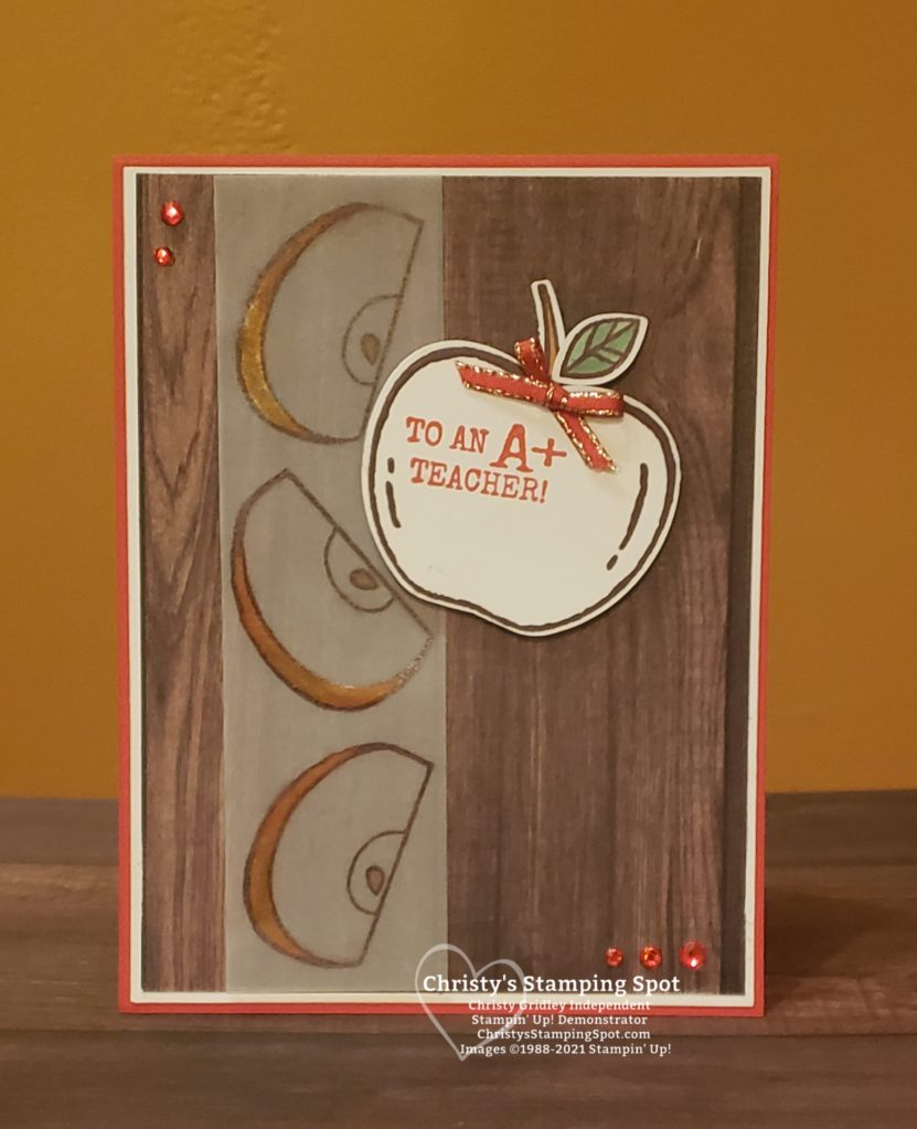 Stampin' Up! Harvest Hellos stamp set, Apply Builder Punch, and In Good Taste DSP. #HarvestHellos