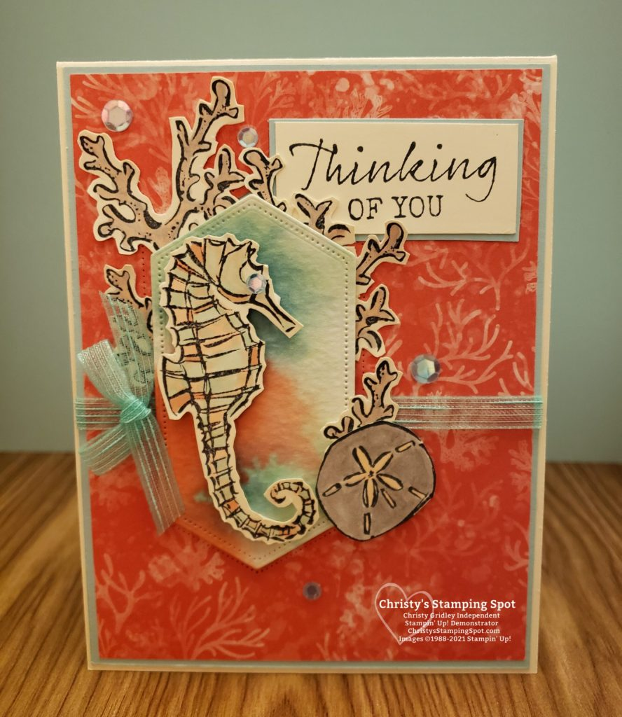 Stampin' Up! Seaside Notions stamp set, Stitched Nested Labels dies, and Whale of a Time DSP #SeasideNotions #seahorse