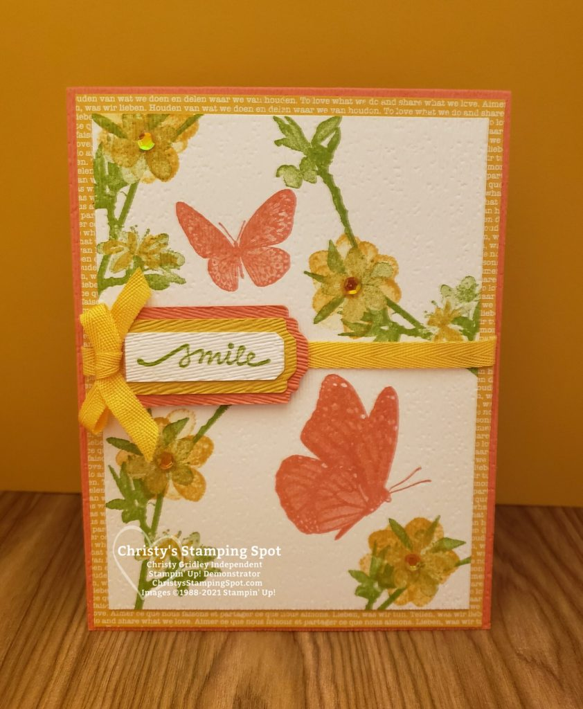 Stampin' Up! Butterfly Wishes stamp set, Lovely You Bundle, Subtle 3D embossing folder, and 2020-2022 In Color DSP. #ButterflyWishes