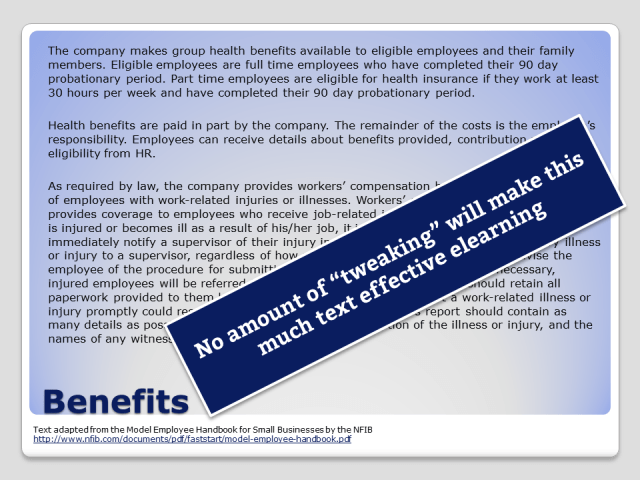 """Dense text about employee benefits on a PowerPoint slide. No amount of """"tweaking"""" will make this much text effective learning."""