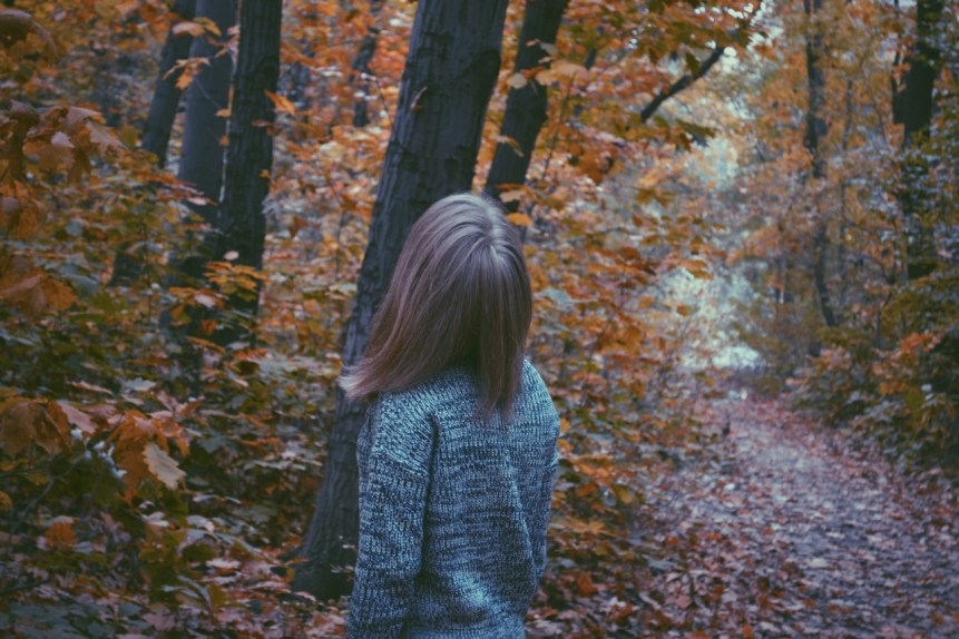 young girl looking up at a tree