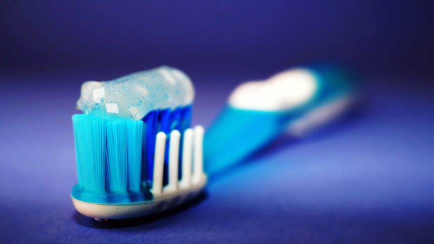 toothbrush with toothpaste