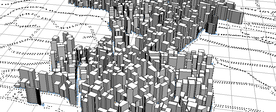 Simulated extruded building footprints.