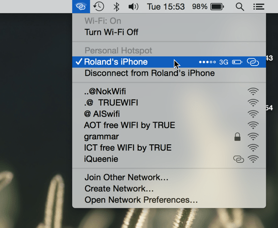 Connected to Instant Hotspot