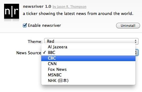 Newsriver extension settings