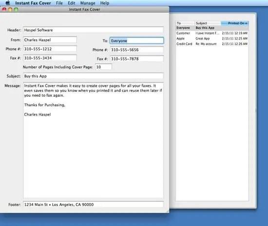Instant Fax Cover Screenshot