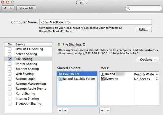Shared Folders Chosen