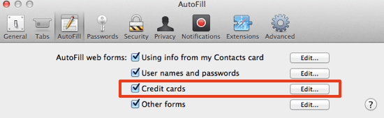 Autofill Credit Cards