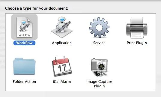 New Automator Workflow