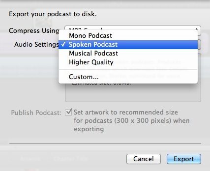 Export to Disk Settings