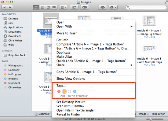 Context menu Tags
