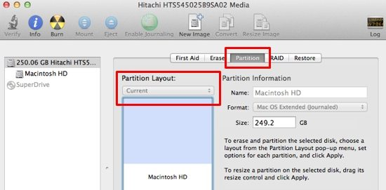 Partition tab in Disk Utility