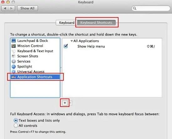 Add New Keyboard Shortcut screenshot