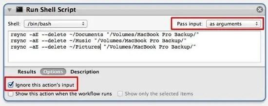 Run Shell Script window