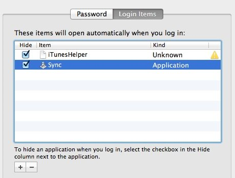Add rsync as a login item