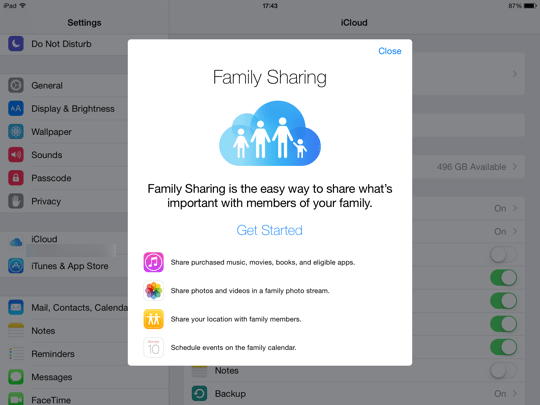 Family Sharing iOS - step 2