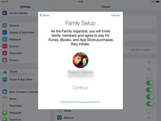 Family Sharing iOS - step 3