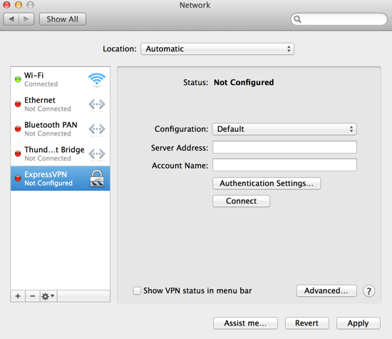 The new VPN should be visible (but not yet configured)