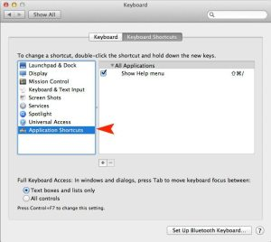 Application Shortcuts, Keyboard Preferences, OS X Lion