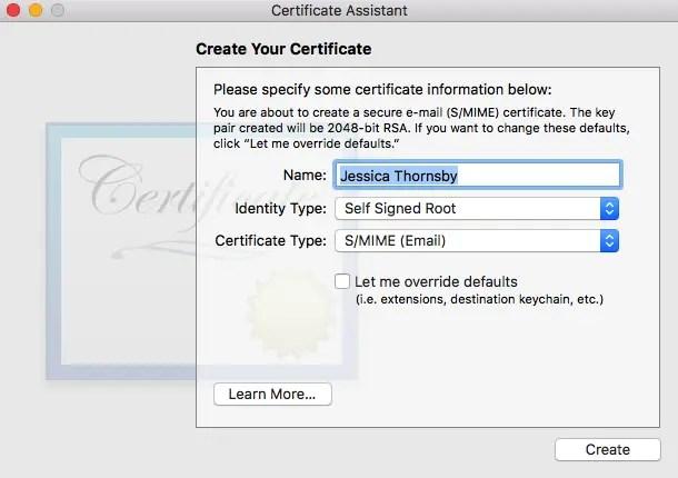 certificate settings