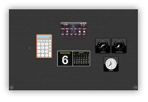 Mac OS X Lion dashboard
