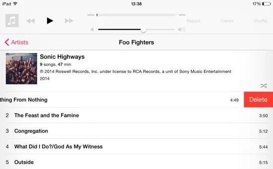 iOS 8 Upgrade - Delete Music