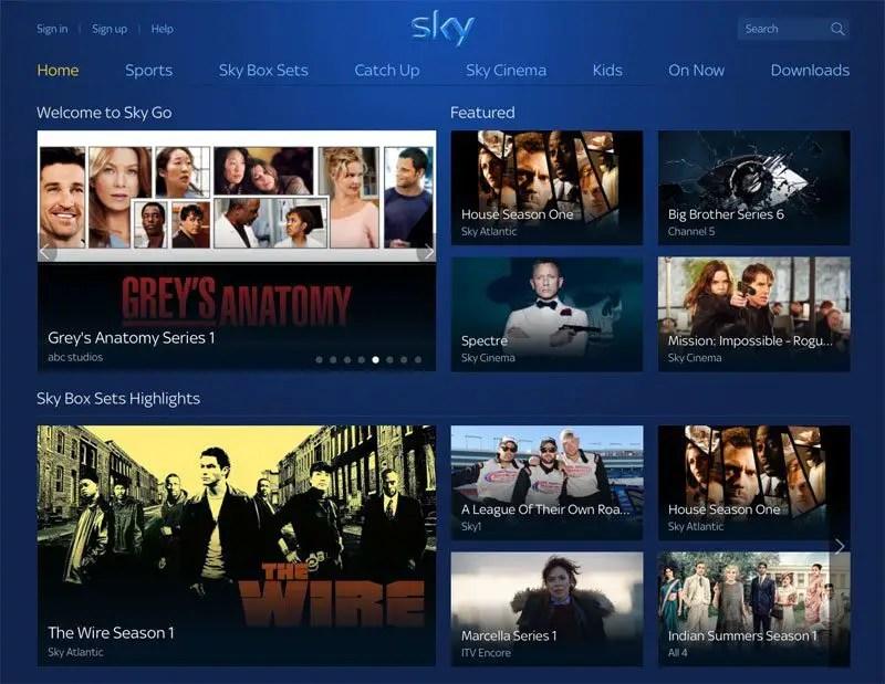 Sky go homepage