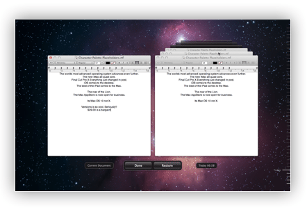 Versions in Mac OS Lion