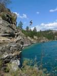 Jay Miron flip off the cliff.