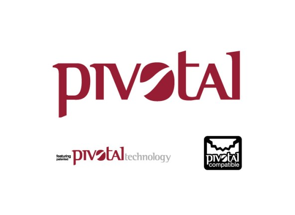 The Pivotal logo family includes the original logo marque, the 'featuring patented Pivotal technology' lockup as well as a 'Pivotal compatible' marque that all companies using the technology put on their packaging to reassure consumers it will work with their Pivotal seat set-up.