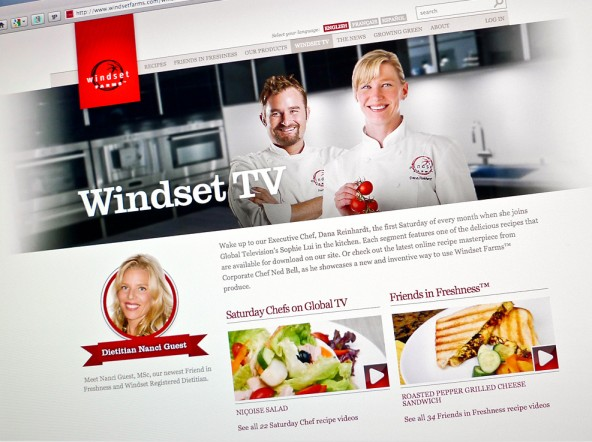 The WindsetTV section of their website houses video content including recipes, commercials, and special event coverage.