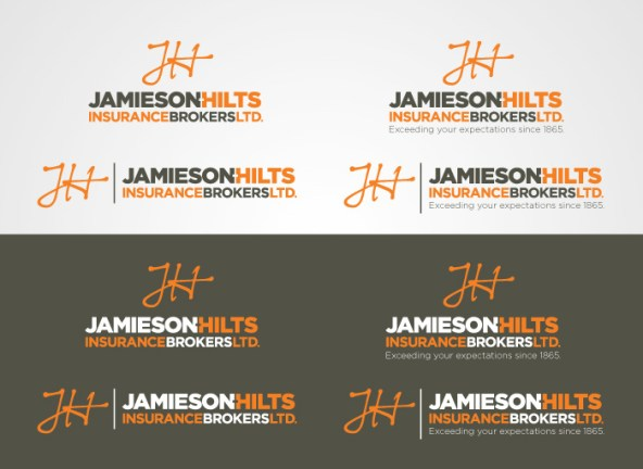 All the variations of the Jamieson-Hilts Insurance logo; vertical and horizontal, with and without taglines, and the positive and reversed out versions makes for a complete package.
