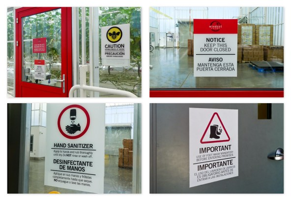 The interior signage covers all aspects of their operation, with the important safety and contamination control signs front and centre near the greenhouses.