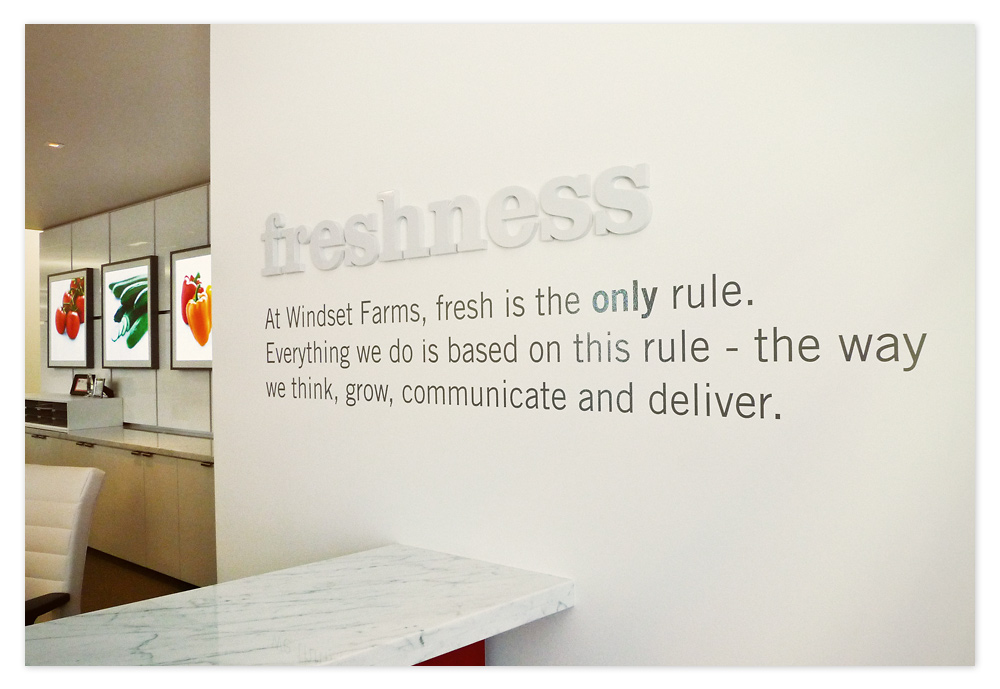 Windset's freshness message is proudly displayed off to the right of the reception desk area. The word 'freshness' is extruded vinyl that pops off that wall giving more dimension.