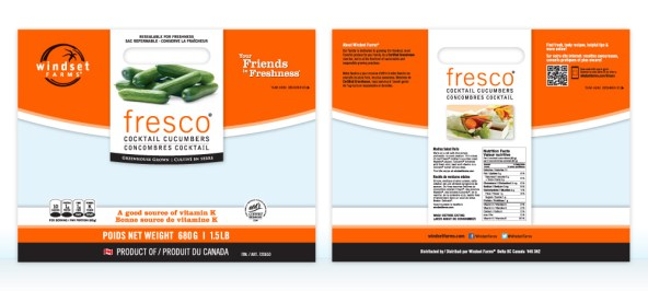 Fresco Cocktail Cucumber bilingual bag for sale in Canada, showing the front and back of the bags.