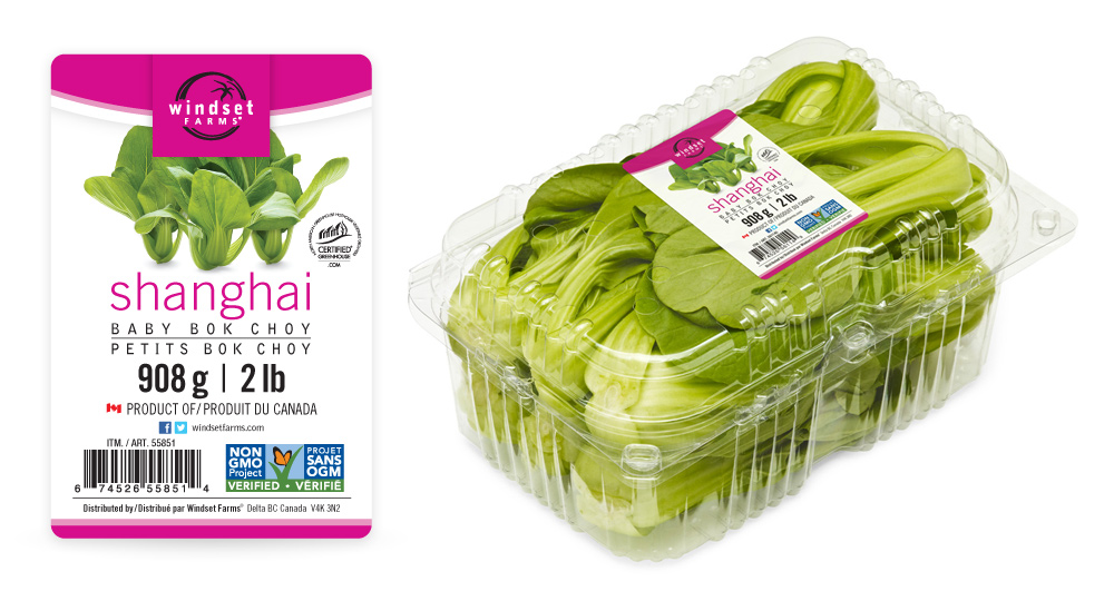 The Shanghai Baby Bok Choy label maintains a consistent design across Windset's entire product line. Here's the label by itself, and on the 2lb clamshell.