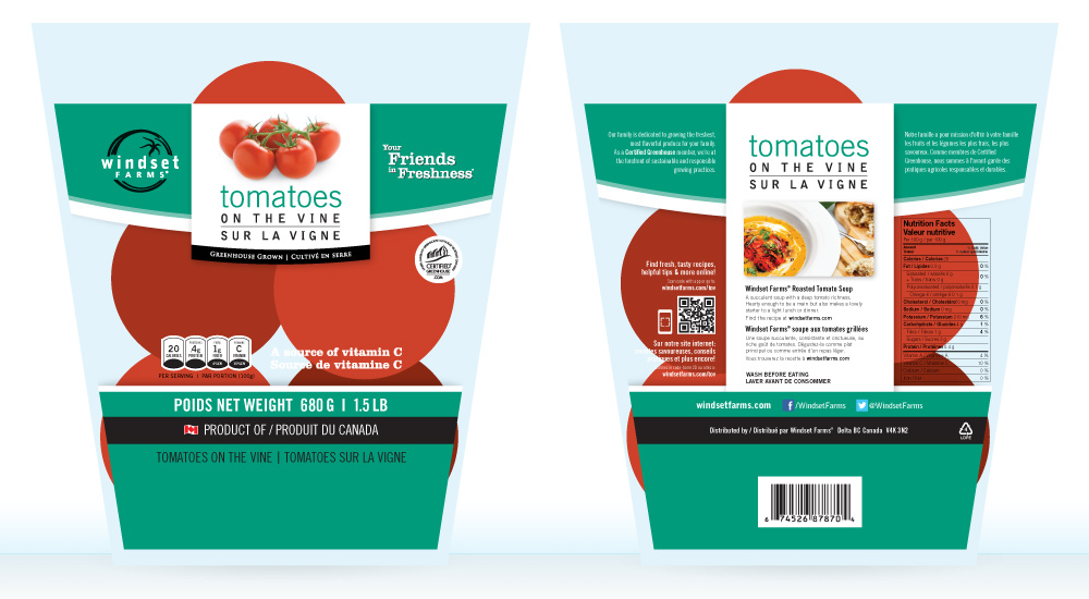 Tomatoes on the Vine polyethylene bag incorporates a very similar design for the front and back, but had to be customized to fit the bag which tapers from top to bottom.