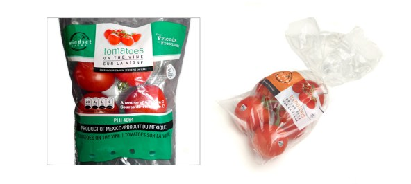 The new Windset Tomatoes on the Vine poly bag design on the left, and the old design on the right.