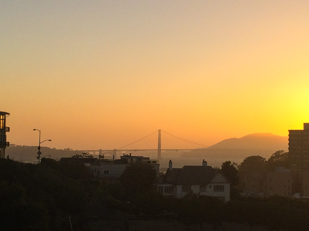 Epic sunset with the Golden Gate Bridge in the background.