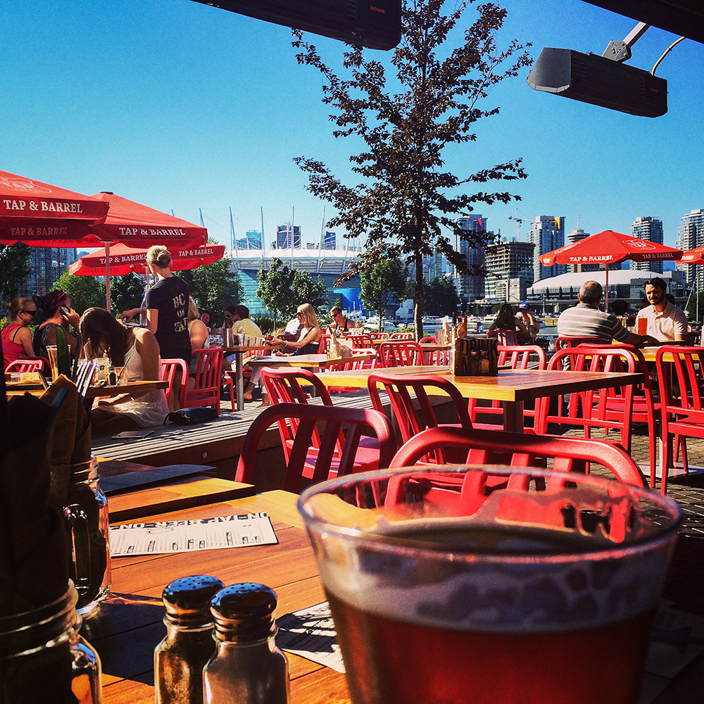 Patio season... Say no more. Soaking up some sun on the patio at Tap & Barrel.