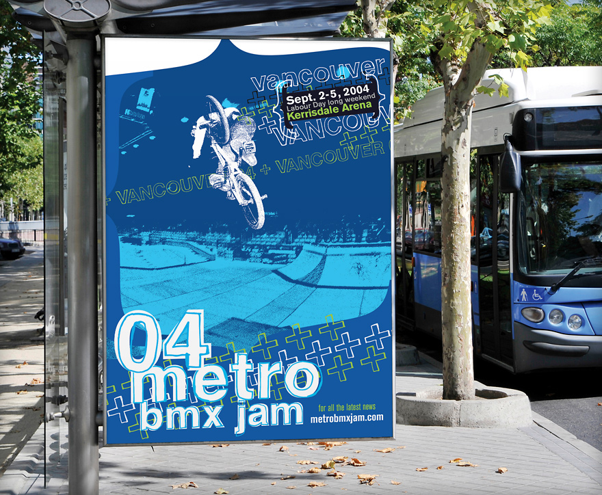 2004 Vancouver Metro Jam contest bus shelter ad featuring Gary Young.