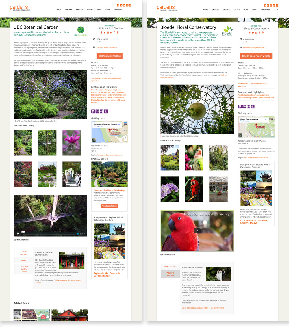 UBC Botanical Garden and the Bloedel Floral Conservatory Member pages side-by-side; different garden's information appears consistently across all the pages.