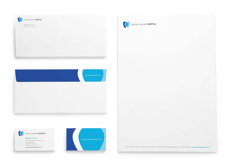 Marine Cambie Dental logo stationery package