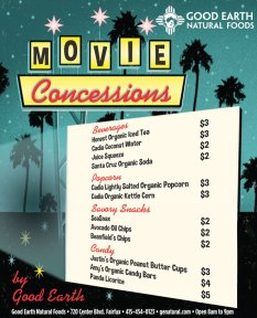 ChromaKit Graphic Design Good Earth screen concessions advertisement for Movie Night in the Park San Anselmo