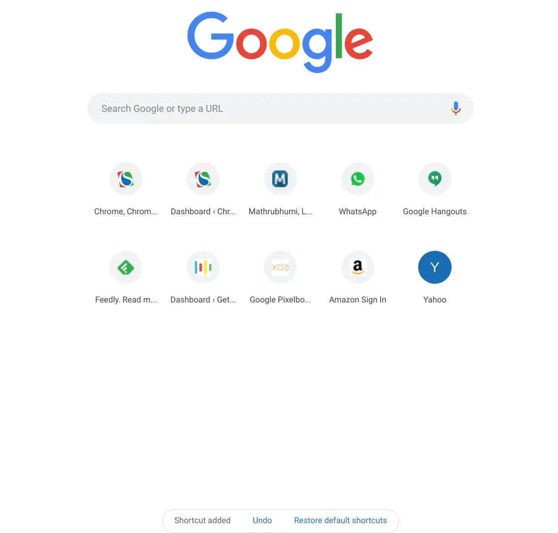 Custom links on new tab page