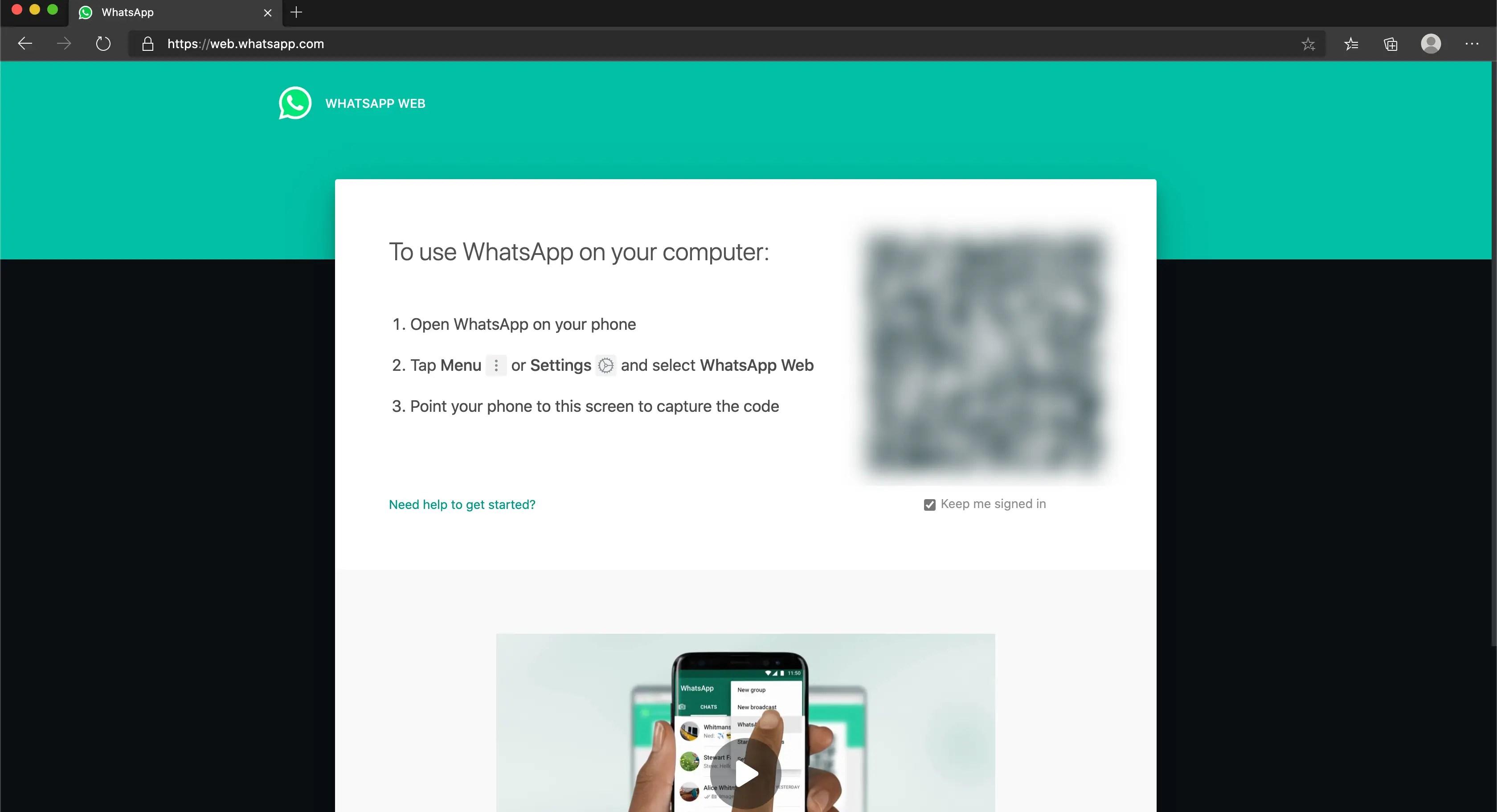 WhatsApp on Microsoft Edge