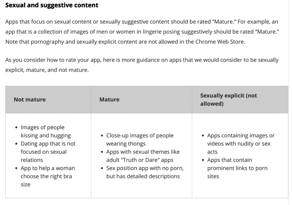 Mature Content Guidelines