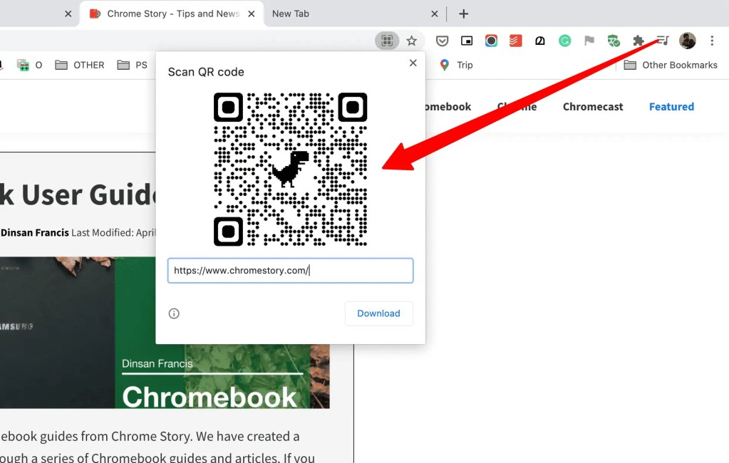 Generated QR Code on Chrome.