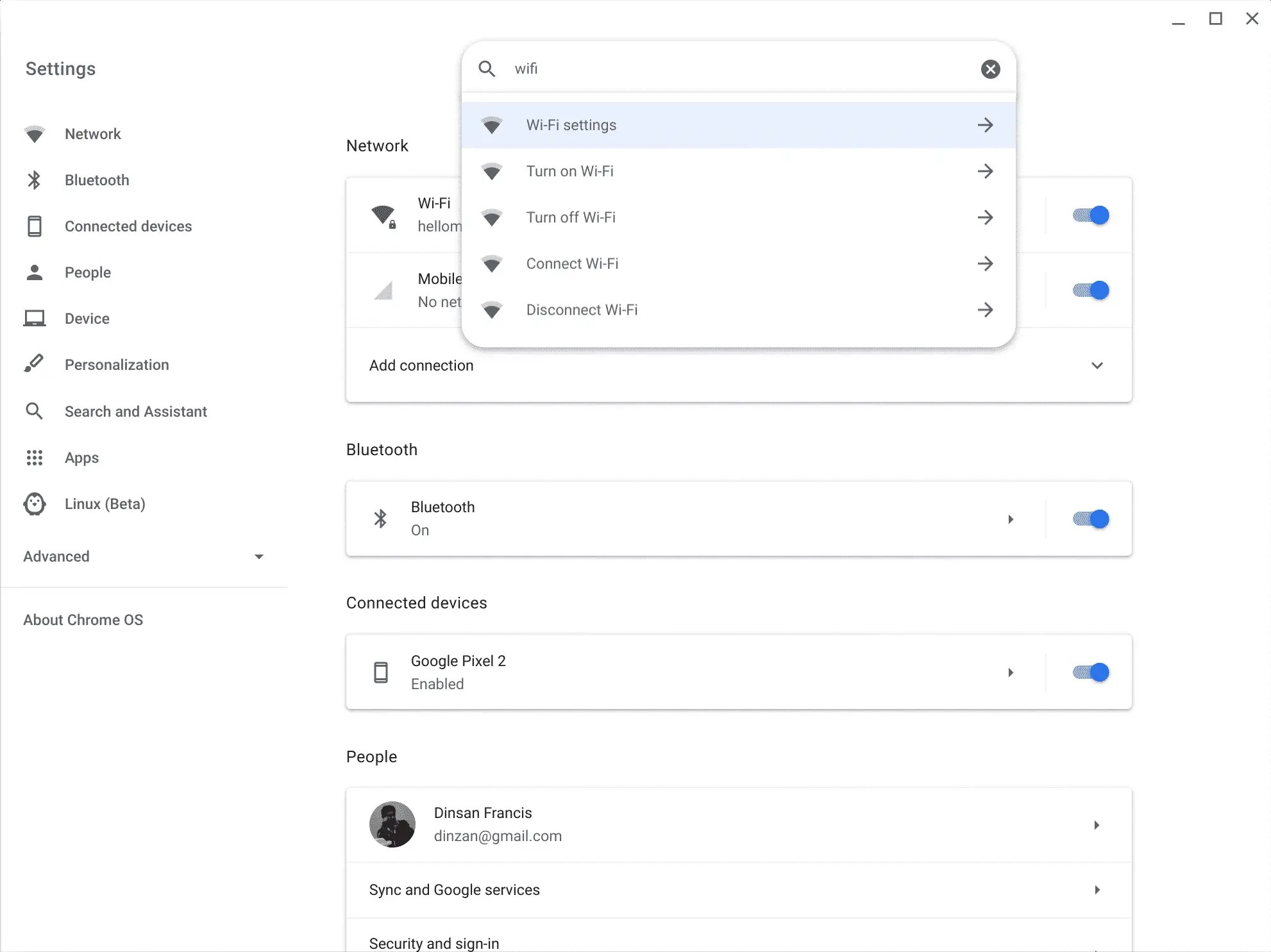 Chrome OS Settings Search - New